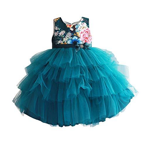 Erfrischende Baumwolle Print Girl Weste Rock Kuchen Rock Pettiskirt Kleid grün (größe : 7 years old) ()
