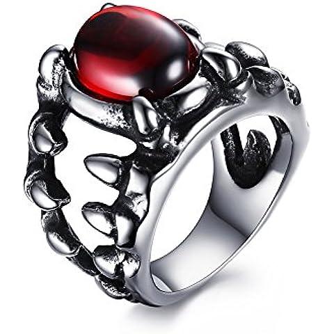 Vnox Dragon Claw in acciaio inox da uomo Fade rubino cristallo anello della fascia della roccia punk monili d'argento nero