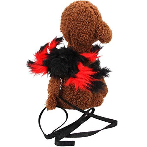 DAKERTA Brustgurt für Hunde Haustier Kleidung Katze Hund Kostüm Halloween Dress Up Spider (Rot) (Spider Kostüm Für Den Hunde)