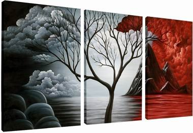 Wieco Art - the Cloud Tree 100% Hand-painted Modern Canvas Wall Art Wood Framed on the Back Wall Decor Floral Oil Paintings on Canvas 3pcs/set produced by Wieco Art - quick delivery from UK.