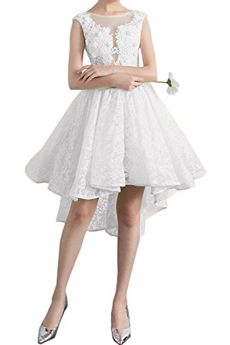 Ivydressing Damen Sweetheart Rundkragen Spitzenkleid Abendkleider Kurz Promkleid Partykleider Weiß
