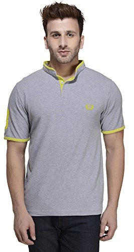 Rigo Herren Mandarin Halsband Ausschnitt Polo T-Shirt Baumwolle Kurzarm - Größe Verfügbar Grau und Gelb