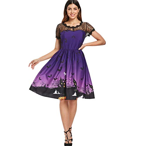 Nankod Kleid Halloween Themed Womens Elegant Kurzarm Retro A Linie Swing Haunted House Spitze Patchwork Backless Knie Länge Hohe Taille Für Cocktailparty