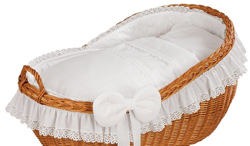 """Brand New Wicker Crib Moses Basket Bassinet """"BIANCA WHITE""""  Solid, Large wicker crib INCL. MATTRESS AND BEDDING Handmade nature wicker basket 2"""