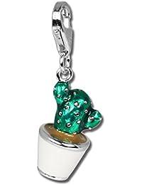 SilberDream FC611 Colgante con diseño de cactus en maceta, esmaltado verde, plata de ley 925