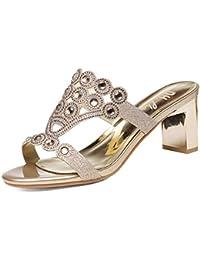 KPHY Zapatos de Mujer/Verano Sexy Moda Casual Diamante 7 cm Zapatos de Tacon Alto Zapatillas Tacones Gruesos Bien Toallas Aire Libre.Treinta…