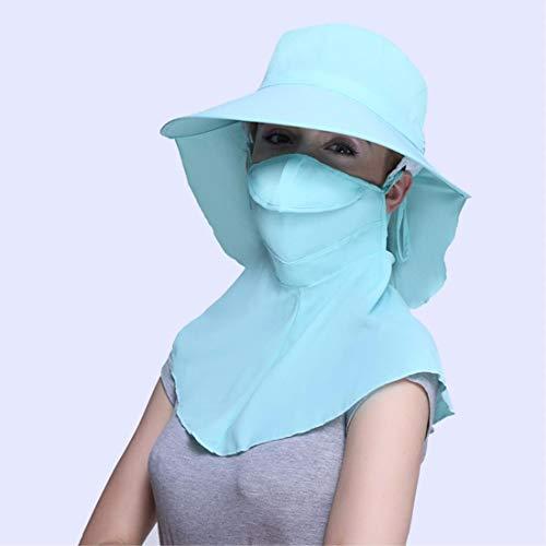 HUAIX Home Helm Sommer Outdoor Anti UV Fahrradhelm/Sonnenschutz/Gesichtsmaske Kappe (Color : Blue)