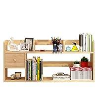 L.BAN Desktop Organizer Stand Bookshelf Display Storage, Simple Desktop Bookshelf Bookcase Office File Storage Organizer Display Shelf Rack with Drawer Literature Organisers