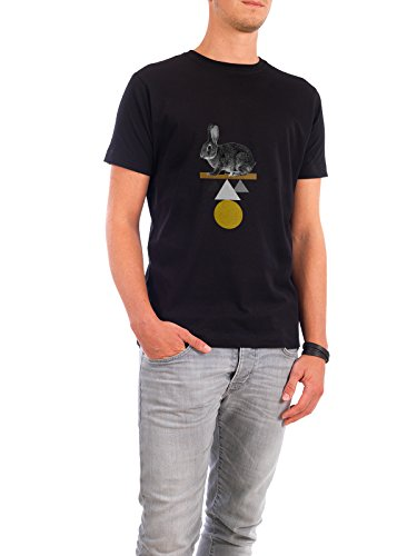 """Design T-Shirt Männer Continental Cotton """"Circle Rabbit"""" - stylisches Shirt Tiere Abstrakt Geometrie Natur Fiktion von Paper Pixel Print Schwarz"""
