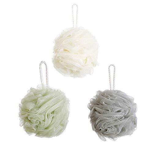 Fliyeong Bad Duschschwamm Duschkugel Volltonfarbe Weiche Netzrausch Duschkugel Körperpeeling Hocker für Badezimmer Packung mit 3 Weiß + Grau + Grün Langlebig und nützlich