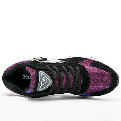 Basket mode haut compensé femme chaussure casuel moderne synthétique sportif noir blanc