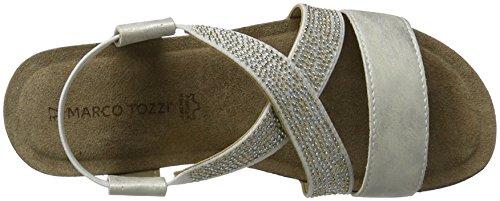 Marco Tozzi Damen 28734 Offene Sandalen mit Keilabsatz Silber (Silver 941)