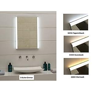 Design LED-Beleuchtung Lichtspiegel Badezimmerspiegel 3-Stufen-Dimmer Ultrahell mit Touch-Schalter GS100T Tageslichtweiß Neutralweiß Warmweiß (50 x 70 cm)