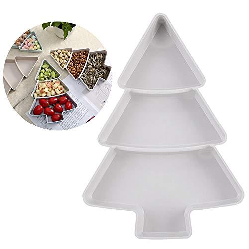 QIHONG - Bandeja para postres con forma de árbol de frutas, bandeja de plástico creativa para servir platos, vajilla creativa para Navidad, la mayoría de decoraciones de fiesta blanco