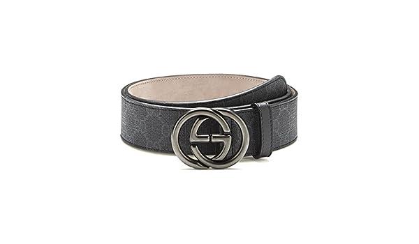 b80e782f1e8d Gucci GG supreme belt with interlocking g buckle leather men s 295777  (black)  Amazon.co.uk  Clothing