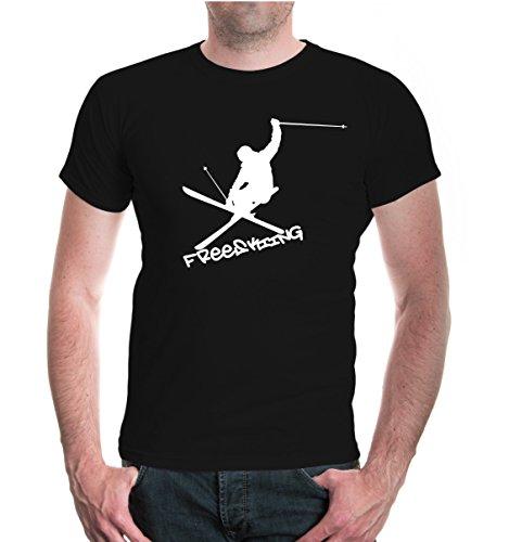 T-Shirt Freeskiing-XXXL-Black-White (Forum Snowboard-t-shirt)