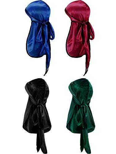4b8f6952f15152 2 Pieces Velvet Durag and 2 Pieces Silky Soft Durag Cap Headwraps with Long  Tail and