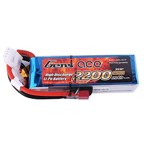 Gens ace RC Akku 11,1 V 2200 mAh 25C 3S LiPo Akku Pack mit Deans T Stecker für RC Hubschrauber RC Flugzeug RC Hobby RC Helikopter Quadrocopter