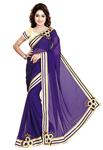 Nivah Fashion Women's Sattin Chifon Embroidery Saree (Blue)