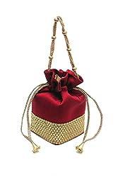 Adorsy Women Red Ethnic Clutch Silk Potli Batwa Pouch Bag with Metal Beadwork F06