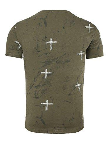 Key Largo Herren T-Shirt DESTINY mit Kreuz Print Ziehrnähte und Vintage Effekten Khaki