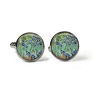 , Van Gogh–Glas Bild Manschettenknöpfe–Silber vergoldet (Kunstdruck Foto J22)