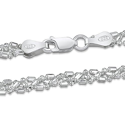 Amberta 925 Sterlingsilber Damen-Halskette - Diamantierte Kugelkette - 3.5 mm Breite - Verschiedene Längen: 45 50 55 cm (45cm)