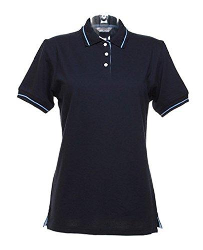 Damen Damen, kurze Ärmel Tennis Polo Shirt Gr. 48, Navy Blue/Light Blue (Polo Doppel-Ärmel)