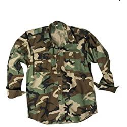 CHEMISE US CAMOUFLAGE CAMO WOODLAND 100% COTON RIPSTOP MILTEC 10915020 AIRSOFT ARMEE MILITAIRE TAILLE L