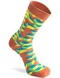 The Moja Club snazzy Men's Orange Cube Socks