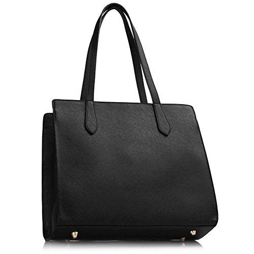 TrendStar Frau Schulter Taschen Damen neu Entwerfer imitat Leder Patent Stil Handtaschen Schwarz/Grau