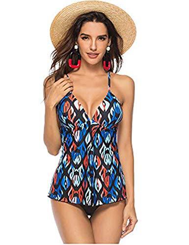FeelinGirl Damen Neckholder Push Up Badekleid Figurformender Badeanzug mit Röckchen Bauchweg Einteiliger Badekleid 3XL Blau -