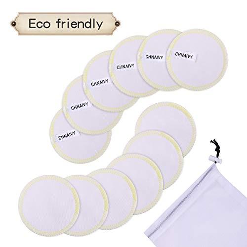 Chnaivy Waschbare Abschminkpads,12 STÜCK 3 Schichten 100% Baumwolle Makeup Entferner Pads mit Wäschebeutel,Waschbar und Wiederverwendbare Weiche Gesichts Pads Zero Waste Nachhaltige Abschminktücher