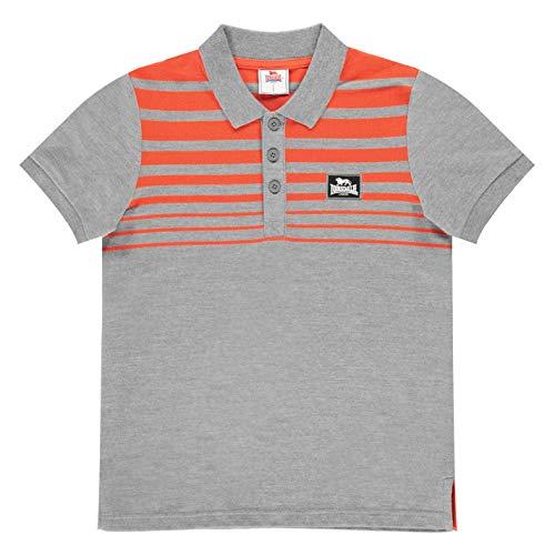Lonsdale Jungen Gestreift Polo Shirt Hemd Kinder Klassisch Holzkohle/Orange M