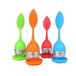OUNONA Kitchen Silikon Tee-Ei, Teesieb- Rostfreien Edelstahl-Sieb mit Langen beweglichen Blatt-Form-Griff und einen Silikon Untersatz (4er Set / Grün Rot)