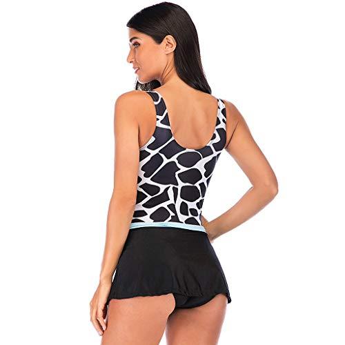 CixNy Damen Frauen Plus Size Print Bow Zweiteiliges Set Bikini Set Sommer Hohe Taille Bikinis...