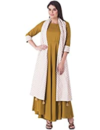 Khushal K Women's Rayon Gown Kurta With White Dupatta