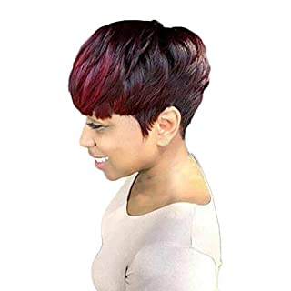 Short Curly Hair Wig Women Charming Daily Party Cosplay Hairpiece Wine Red Blonde Synthetic Wigs (B)
