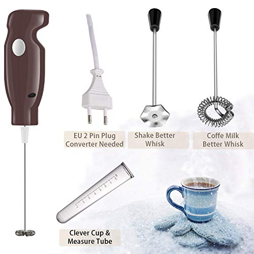 Milchaufschäumer Elektro-Handschaummaschine mit staubdichtem Turbo für Kaffee, Latte, Cappuccino, heiße Schokolade, Durable Drink Mixer mit 2 Edelstahl-Schneebesen, 1 Messrohr (Clever Cover) (coffe)