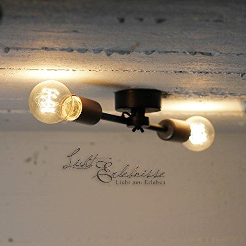 Deckenlampe Vintage/schwarz, Kupfer / 2-flammig / E27 / Metall/Lampe Glühbirne/Loft Leuchte/Wohnzimmer Deckenlampe/Küchenlampe/modern minimalistisch/Retro