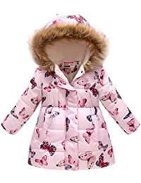 Otoño Invierno Niñas Mantener Caliente Abajo Chaqueta con Capucha Moda Manga Larga Ropa de Abrigo de