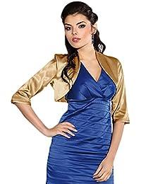 Ossa Women Wedding Satin Evening Jacket Prom Party Bolero Shrug 3/4 Sleeve UK Size 6-20