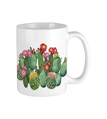 LUOBOGAN Saguaro Barrel Hedge Hog Prickly Pear Opuntia Tropical Botany Garden Plants Multicolor Ceramic Coffee Mug,Coffee Cups,White Mug,Coffee Mug,Restaurant Coffee Mugs 11oz Blue Barrel Mug