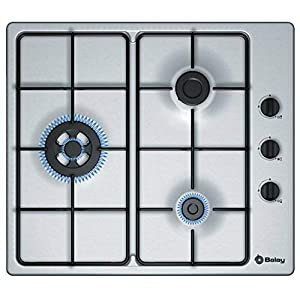 Balay 3ETX463MB Integrado Encimera de gas Plata hobs – Placa (Integrado, Encimera de gas, Plata, 1000 W, 1700 W, 3300 W)
