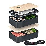 SMART GORILLA TOOLS - Bento Box - Dein Essen Immer griffbereit - Lunchbox Brotdose Brotbüchse mit Zwei Fächern - mikrowellengeeignet - Inklusive Besteck und Trennelementen