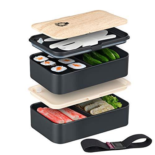 (SMART GORILLA TOOLS - Bento Box - Dein Essen Immer griffbereit - Lunchbox Brotdose Brotbüchse mit Zwei Fächern - mikrowellengeeignet – Inklusive Besteck und Trennelementen)