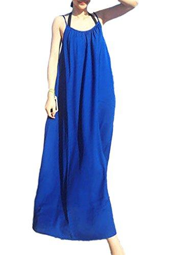 Robe Simple lâche Maxi Swing Beach féminin blue