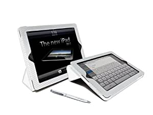 G-HUB – Case for iPad (Stand, Paid and Auto Sleep Wake Function) iPad 4/iPad 3/iPad 2  - - White Carbon Fibre
