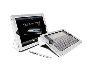 G-HUB–Case for iPad (Stand, Paid and Auto Sleep Wake Function) iPad 4/iPad 3/iPad 2  - - White Carbon Fibre