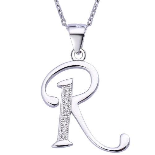 VIKI LYNN Sterling Silber 925 Kette Halskette mit Silber und Zircon Buchstabe Alphabet R Anhaenger